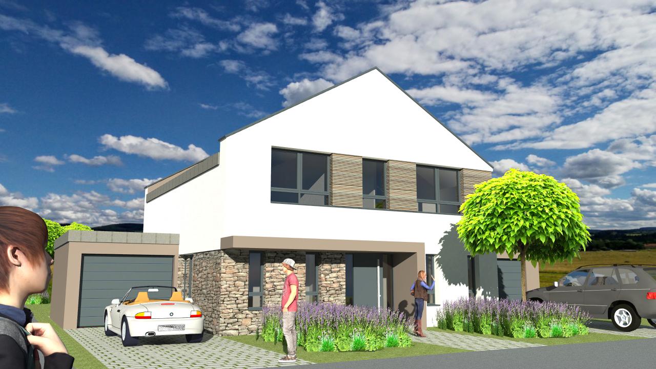 Neubau eines Einfamilienwohnhauses mit Garagen